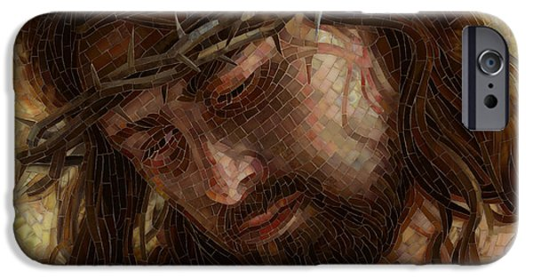 Religious Art iPhone Cases - Crown of Thorns Glass Mosaic iPhone Case by Mia Tavonatti