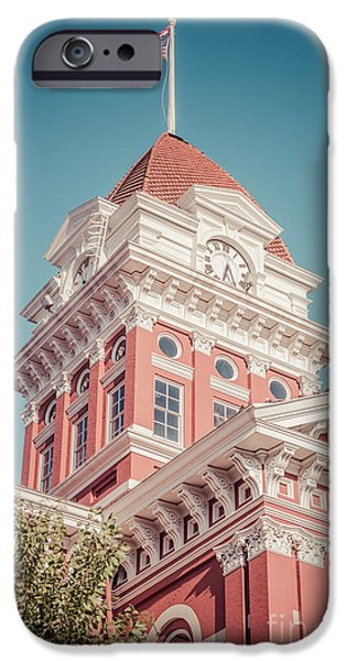 Lake County iPhone Cases - Crown Point Courthouse Retro Photo iPhone Case by Paul Velgos
