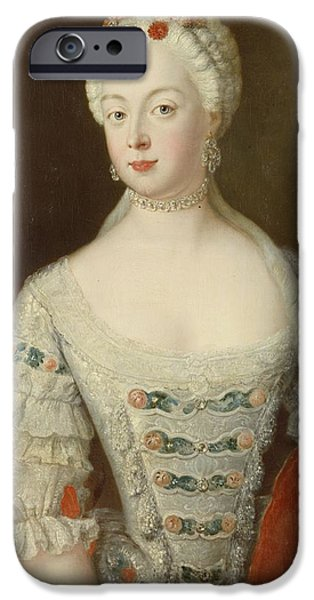 Royalty iPhone Cases - Crown Princess Elisabeth Christine Von Preussen, C.1735 Oil On Canvas iPhone Case by Antoine Pesne