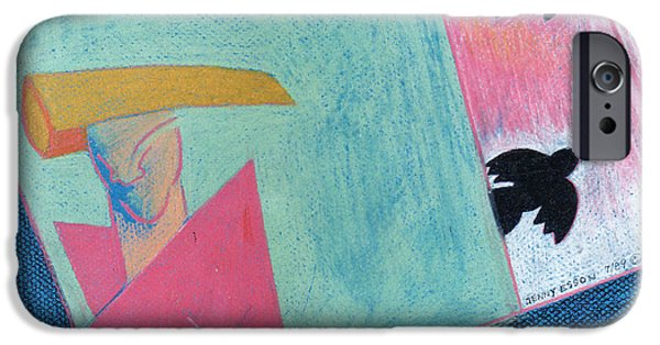 Colored Pencil Abstract iPhone Cases - Crows And Geometric Figure iPhone Case by Genevieve Esson