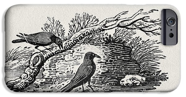 Print Photographs iPhone Cases - Crows Corvus Corone Corone From The History Of British Birds Volume I, Pub. 1797 Wood Engraving iPhone Case by Thomas Bewick