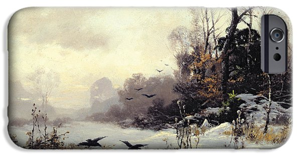 Snow iPhone Cases - Crows in a Winter Landscape iPhone Case by Karl Kustner
