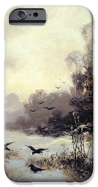 Crows in a Winter Landscape iPhone Case by Karl Kustner