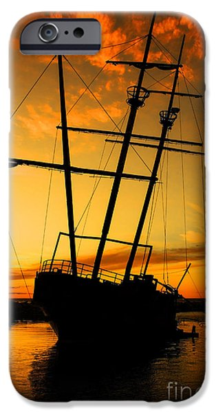 Sailboat Ocean iPhone Cases - Crows Nest  iPhone Case by Barbara McMahon