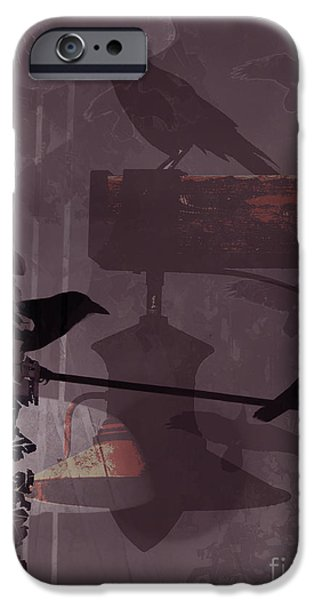 Destiny Digital iPhone Cases - Crows  iPhone Case by Robert Ball