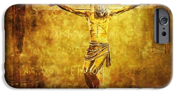 Jesus Digital iPhone Cases - Crucified Via Dolorosa 12 iPhone Case by Lianne Schneider