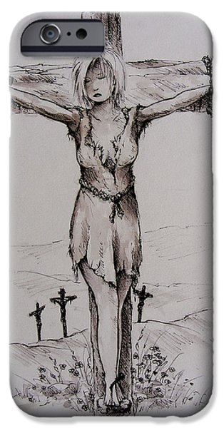 Crucifixtion iPhone Cases - Crucified with Christ iPhone Case by Rachel Christine Nowicki