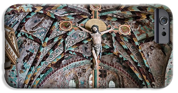 Atonement iPhone Cases - Crucifix Harkeberga church iPhone Case by Leif Sohlman