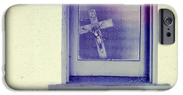 Bible iPhone Cases - Crucifix in a Window iPhone Case by YoPedro