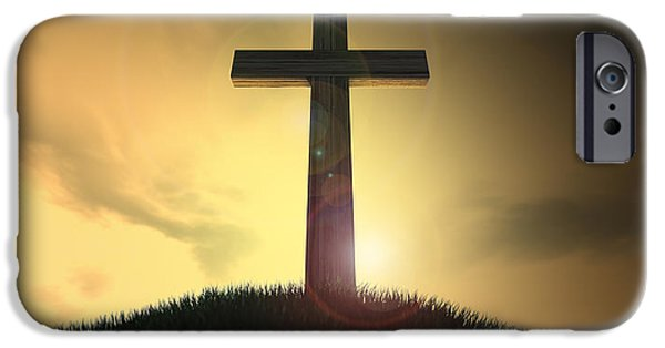 The Wooden Cross iPhone Cases - Crucifix On A Hill At Dawn iPhone Case by Allan Swart