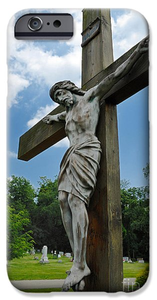 Son Of God Photographs iPhone Cases - Crucifix Statue St James Cemetery Sewickley Heights Pennsylvania iPhone Case by Amy Cicconi
