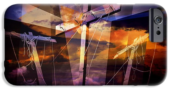 Crucifixtion iPhone Cases - Crucifixion Crosses Composition from Clotheslines iPhone Case by Randall Nyhof