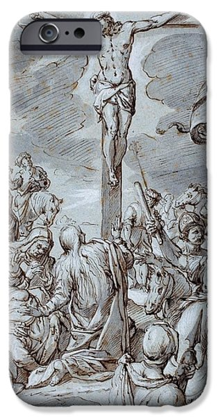 Biblical Drawings iPhone Cases - Crucifixion iPhone Case by Johann or Hans von Aachen