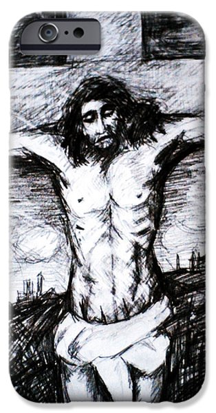 Jesus Drawings iPhone Cases - Crucifixion iPhone Case by Paul Sutcliffe