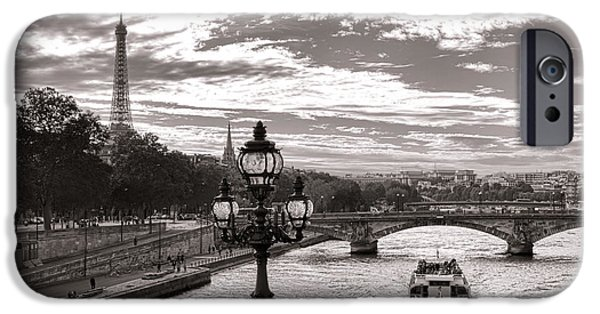 Cruise iPhone Cases - Cruise on the Seine iPhone Case by Olivier Le Queinec