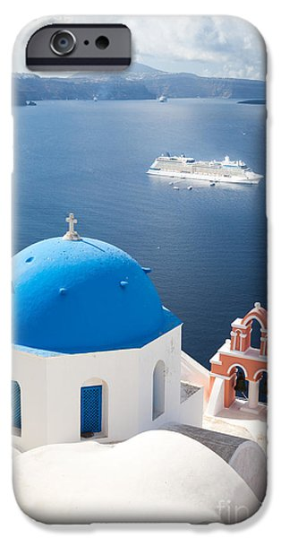Greek Icon iPhone Cases - Cruise ship in Santorini - Greece iPhone Case by Matteo Colombo