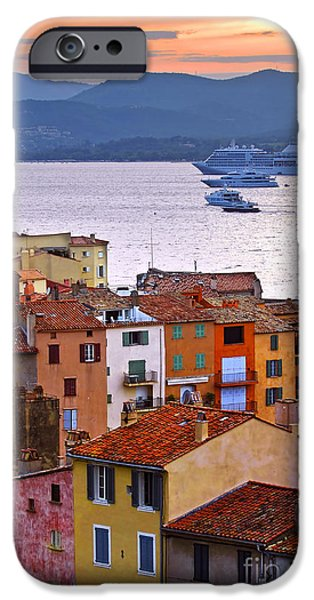 Rooftop iPhone Cases - Cruise ships at St.Tropez iPhone Case by Elena Elisseeva