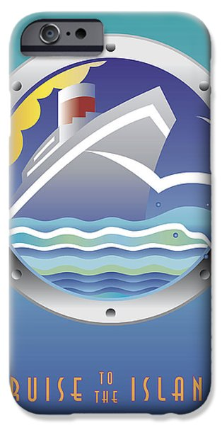 Abstract Digital iPhone Cases - Cruise to the Islands iPhone Case by Marcy Gold