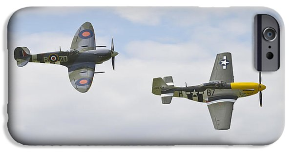 Ferocious Frankie iPhone Cases - Cruising Spitfire and Mustang  iPhone Case by Maj Seda