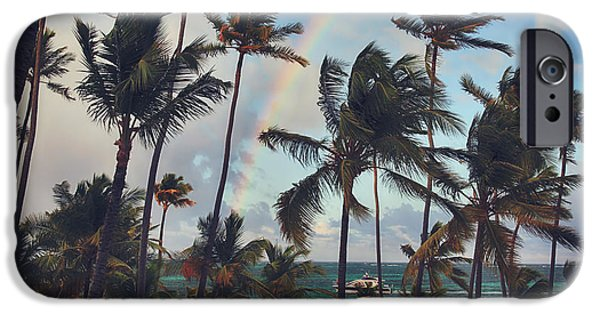 Boat Cruise iPhone Cases - Cruising Under the Rainbow iPhone Case by Laurie Search