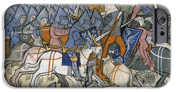 Knighthood iPhone Cases - Crusaders Fighting Saracens iPhone Case by British Library