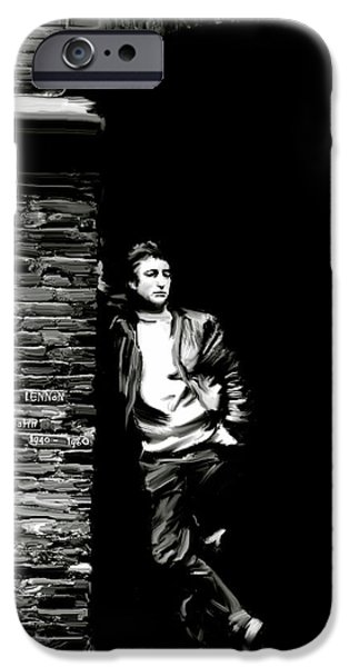 Beatles iPhone Cases - Cry For A Shadow III JOHN LENNON iPhone Case by Iconic Images Art Gallery David Pucciarelli