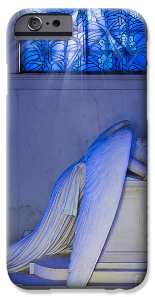 Cemetary iPhone Cases - Crying Angel iPhone Case by Inge Johnsson