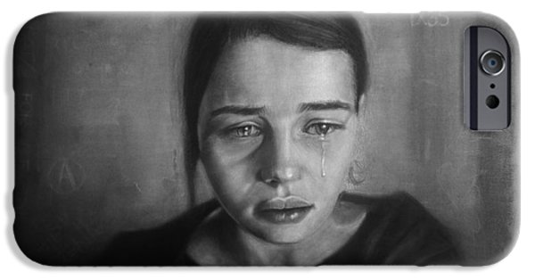 Crying Drawings iPhone Cases - Crying Girl iPhone Case by Steve Olsen