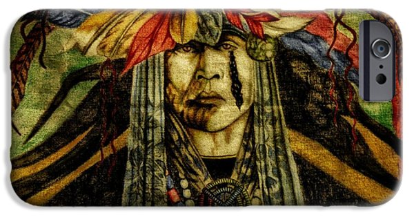 Mascots Mixed Media iPhone Cases - Crying Indian iPhone Case by Todd and candice Dailey