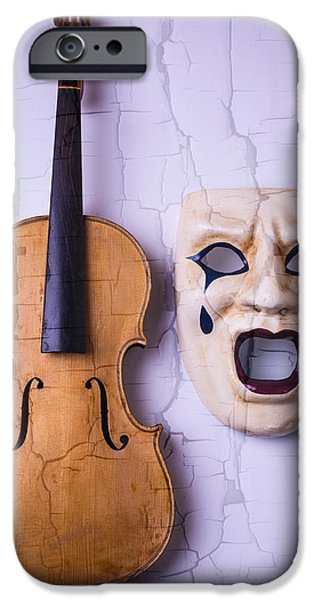 Chip iPhone Cases - Crying Mask With Violin iPhone Case by Garry Gay