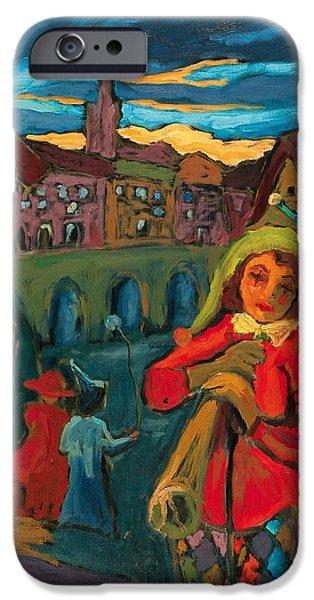Daybreak iPhone Cases - Cryptic Day-break Oil On Canvas iPhone Case by Marta Martonfi-Benke