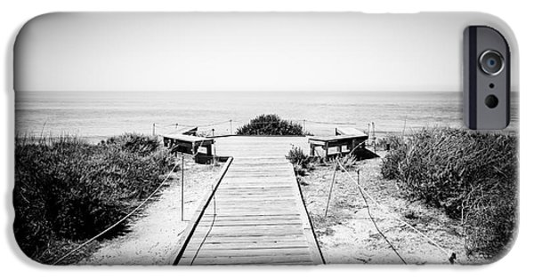 Brush Photographs iPhone Cases - Crystal Cove Overlook Black and White Picture iPhone Case by Paul Velgos