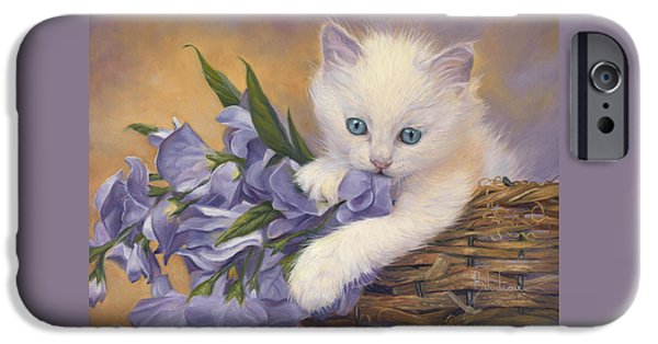 Orange Tabby Paintings iPhone Cases - Crystal Eyes iPhone Case by Lucie Bilodeau