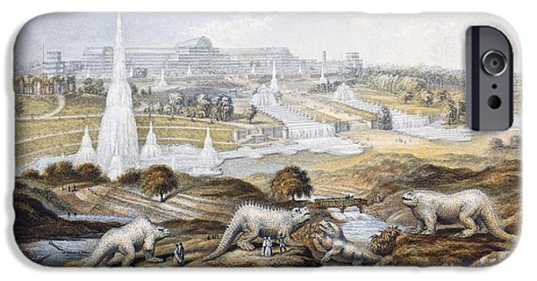 Fossil Reconstruction iPhone Cases - Crystal Palace Dinosaurs By Baxter, 1854 iPhone Case by Paul D. Stewart