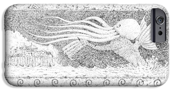 Black And White Reliefs iPhone Cases - Cthulhu 2 iPhone Case by Steve Allender