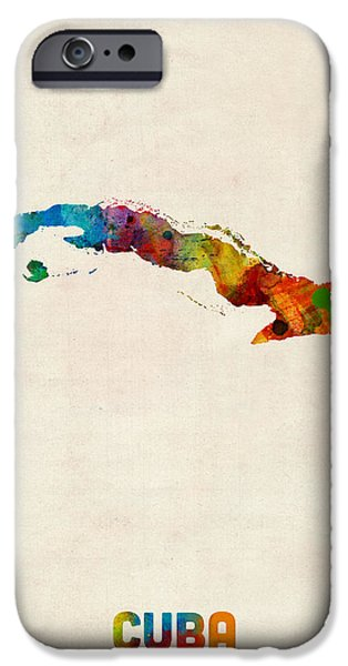 Cuba iPhone Cases - Cuba Watercolor Map iPhone Case by Michael Tompsett