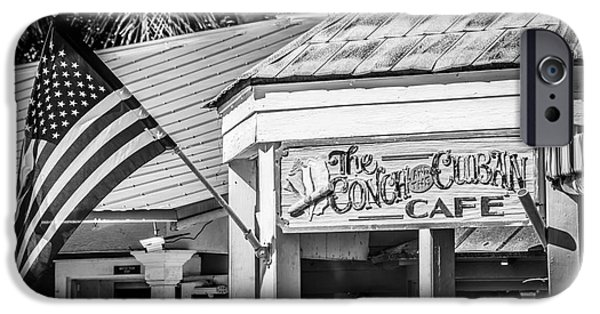 Old Glory iPhone Cases - Cuban Cafe and American Flag Key West - Black and White iPhone Case by Ian Monk