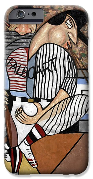 Cubists iPhone Cases - Cubist Baseball iPhone Case by Anthony Falbo