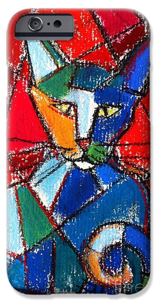 Geometrical iPhone Cases - Cubist Colorful Cat iPhone Case by Mona Edulesco