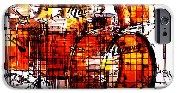 Abstract Movement Mixed Media iPhone Cases - Cubist Drums iPhone Case by Russell Pierce