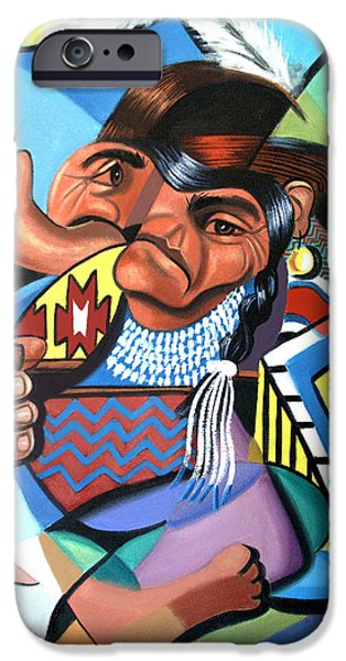 Cubist iPhone Cases - Cubist Indian  iPhone Case by Anthony Falbo