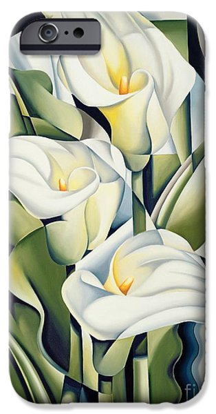 Botanical Paintings iPhone Cases - Cubist lilies iPhone Case by Catherine Abel