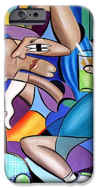 Cubist iPhone Cases - Cubist Tennis Player iPhone Case by Anthony Falbo