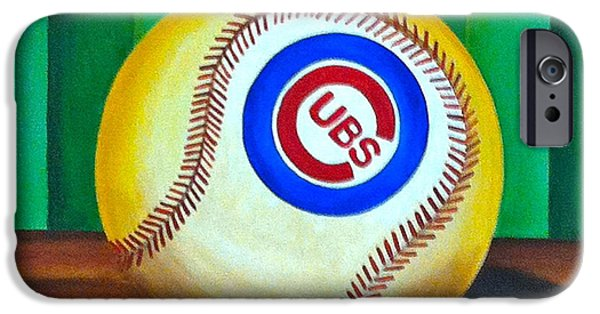 Chicago Cubs iPhone Cases - Cubs baseball ball iPhone Case by Carla Bank