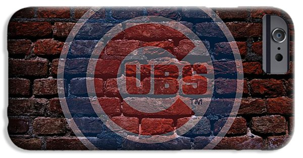 Business Digital Art iPhone Cases - Cubs Baseball Graffiti on Brick  iPhone Case by Movie Poster Prints