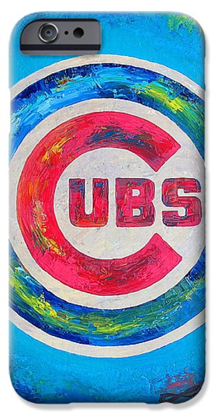 Chicago Cubs Mixed Media iPhone Cases - Chicago Cubs Baseball iPhone Case by Dan Haraga