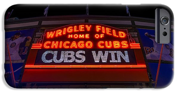 Wrigley iPhone Cases - Cubs Win iPhone Case by Steve Gadomski