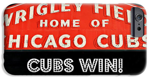 Holy Cow iPhone Cases - Cubs Win - Wrigley Sign iPhone Case by Stephen Stookey