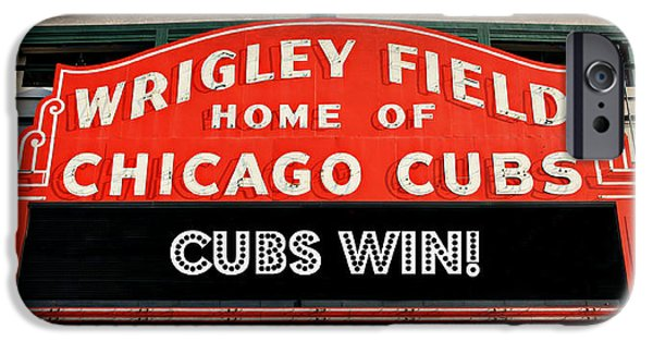 Chicago Cubs iPhone Cases - Cubs Win - Wrigley Sign iPhone Case by Stephen Stookey