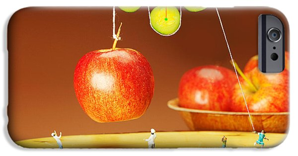 Pulley iPhone Cases - Cucumber pulley moving apples food physics iPhone Case by Paul Ge